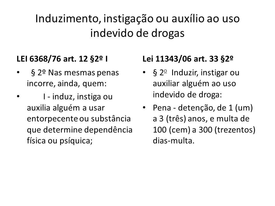 Induzimento, instigação ou auxílio ao uso indevido de drogas