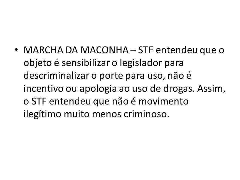 MARCHA DA MACONHA – STF entendeu que o objeto é sensibilizar o legislador para descriminalizar o porte para uso, não é incentivo ou apologia ao uso de drogas.