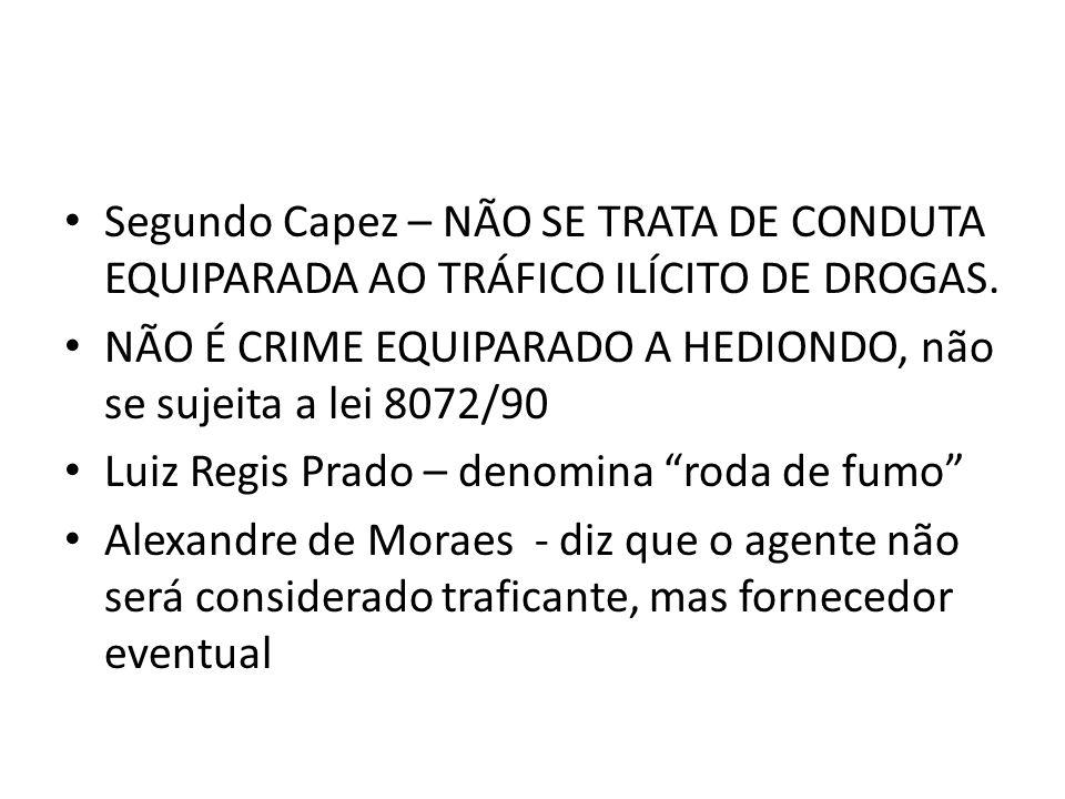 Segundo Capez – NÃO SE TRATA DE CONDUTA EQUIPARADA AO TRÁFICO ILÍCITO DE DROGAS.