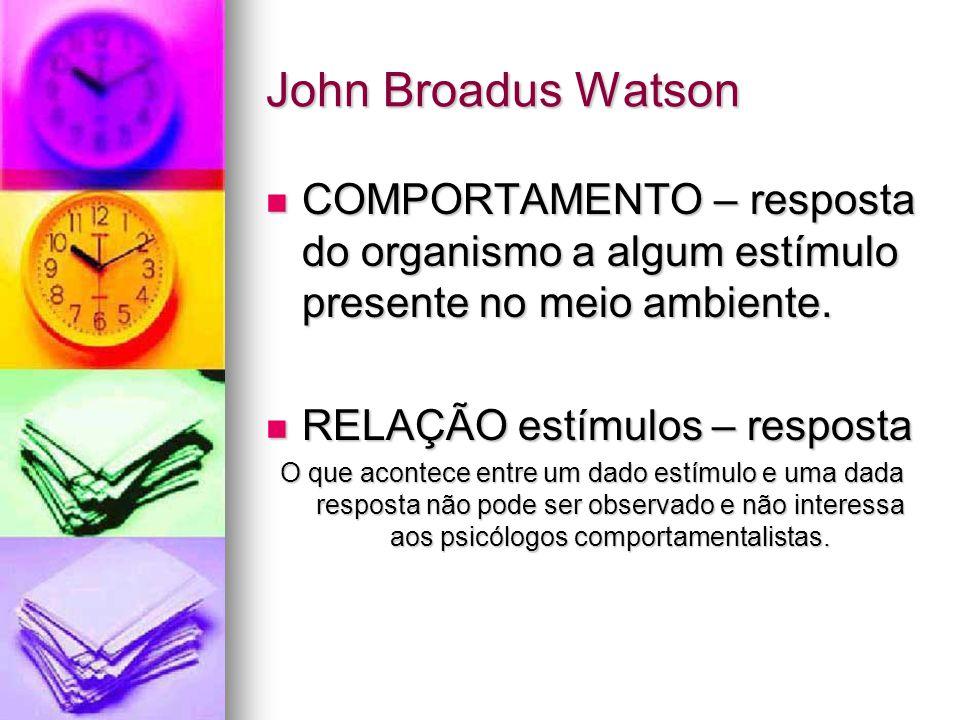 John Broadus Watson COMPORTAMENTO – resposta do organismo a algum estímulo presente no meio ambiente.