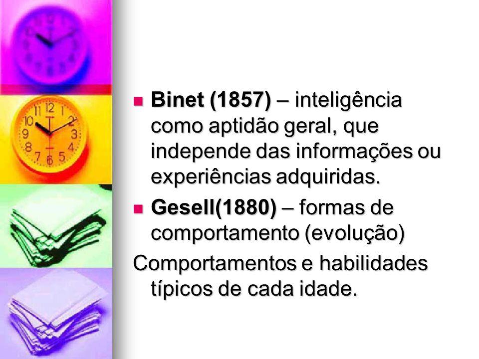 Binet (1857) – inteligência como aptidão geral, que independe das informações ou experiências adquiridas.