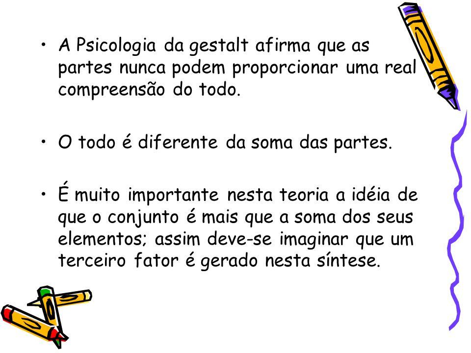 A Psicologia da gestalt afirma que as partes nunca podem proporcionar uma real compreensão do todo.