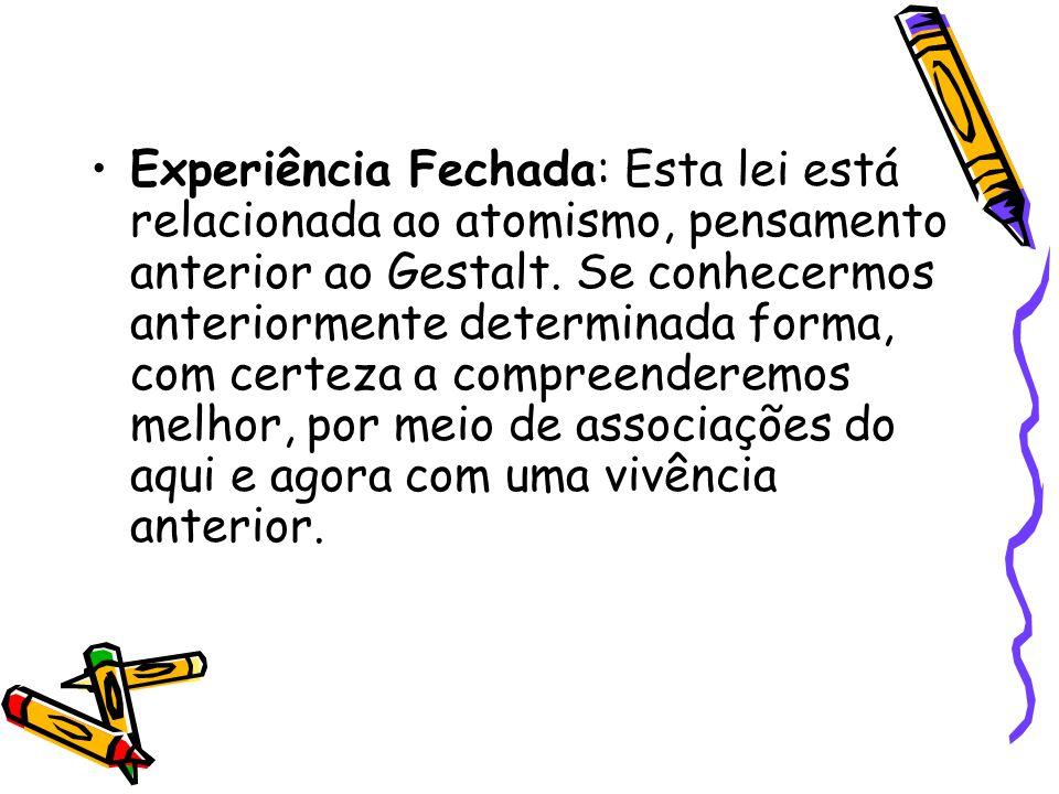 Experiência Fechada: Esta lei está relacionada ao atomismo, pensamento anterior ao Gestalt.