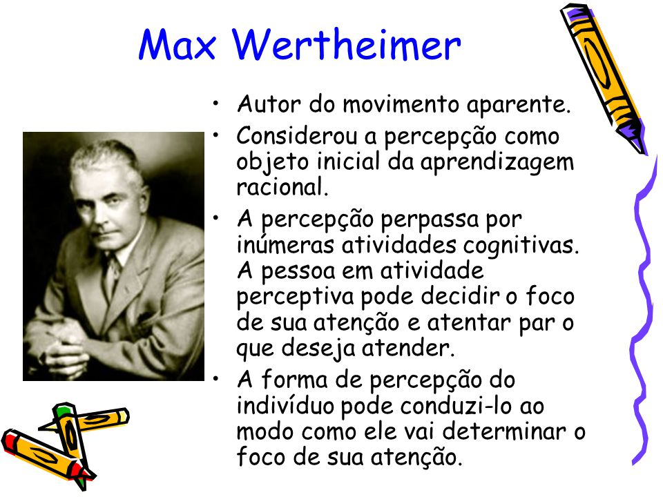 Max Wertheimer Autor do movimento aparente.