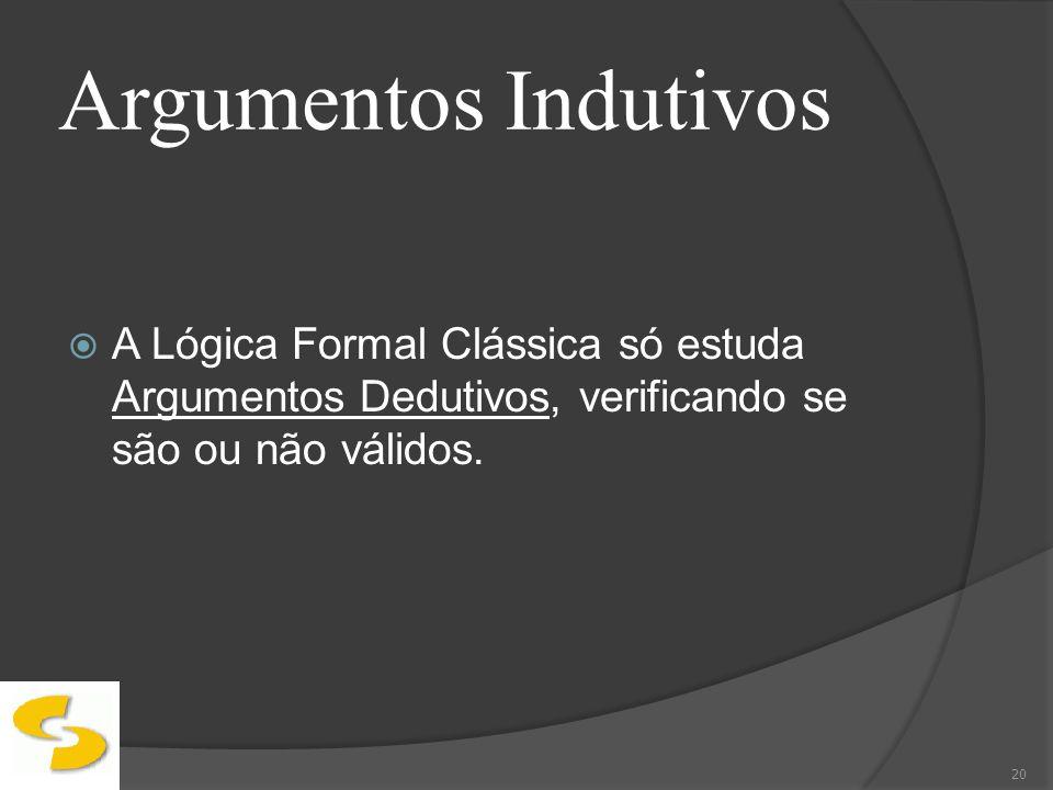 Argumentos IndutivosA Lógica Formal Clássica só estuda Argumentos Dedutivos, verificando se são ou não válidos.