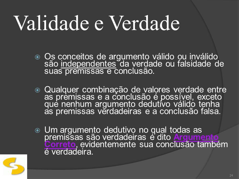 Validade e VerdadeOs conceitos de argumento válido ou inválido são independentes da verdade ou falsidade de suas premissas e conclusão.