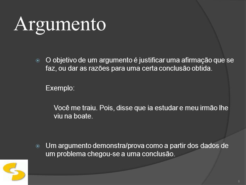 ArgumentoO objetivo de um argumento é justificar uma afirmação que se faz, ou dar as razões para uma certa conclusão obtida.
