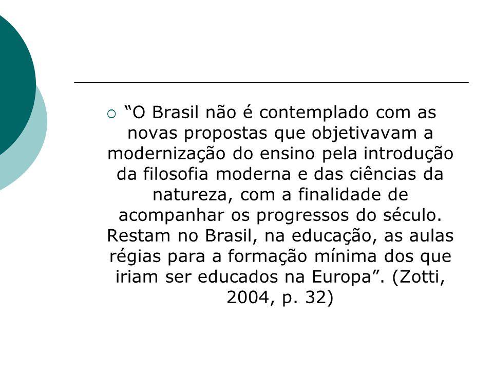 O Brasil não é contemplado com as novas propostas que objetivavam a modernização do ensino pela introdução da filosofia moderna e das ciências da natureza, com a finalidade de acompanhar os progressos do século.