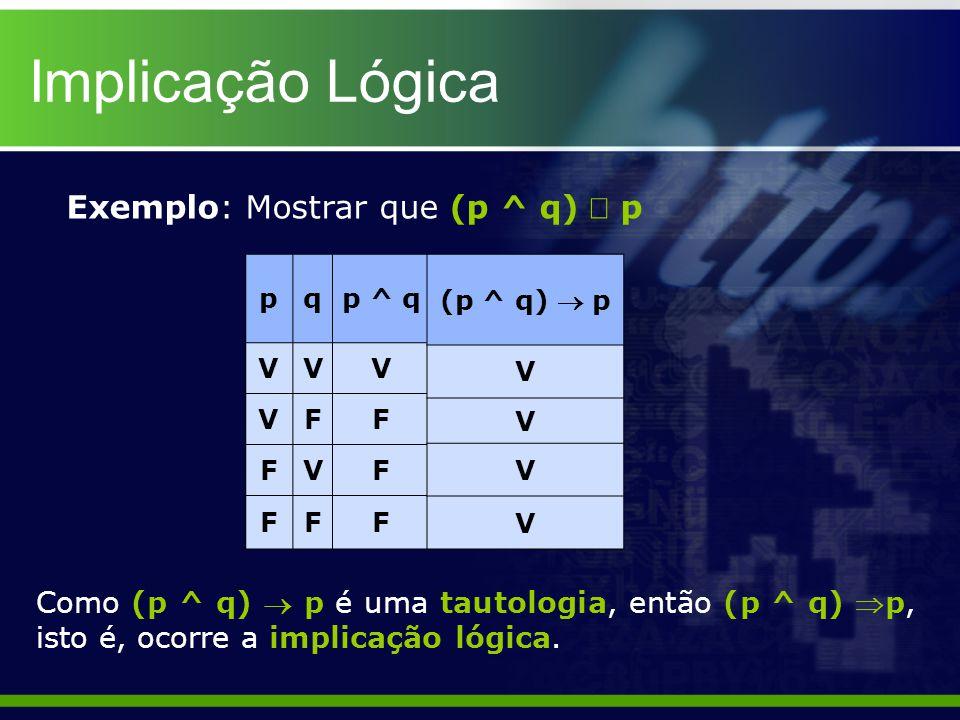 Implicação Lógica Exemplo: Mostrar que (p ^ q) Þ p