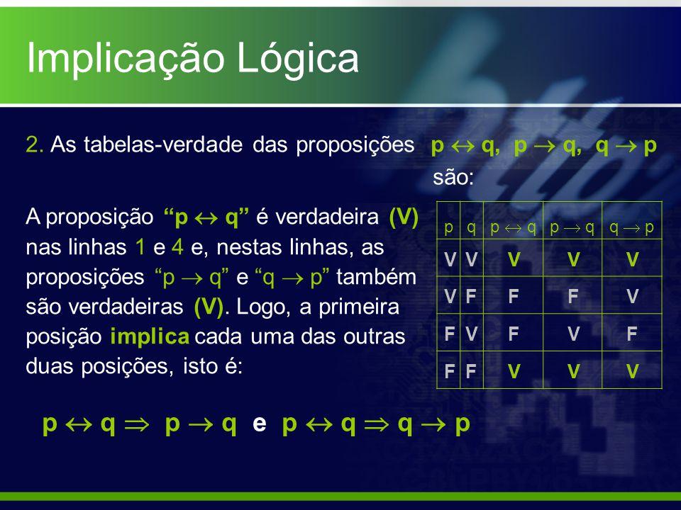 Implicação Lógica p  q  p  q e p  q  q  p
