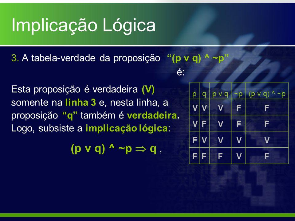 Implicação Lógica 3. A tabela-verdade da proposição (p v q) ^ ~p é: