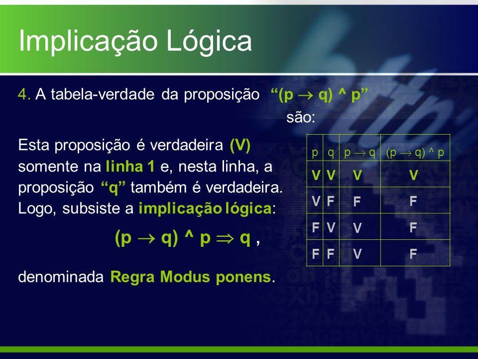 Implicação Lógica 4. A tabela-verdade da proposição (p  q) ^ p são: