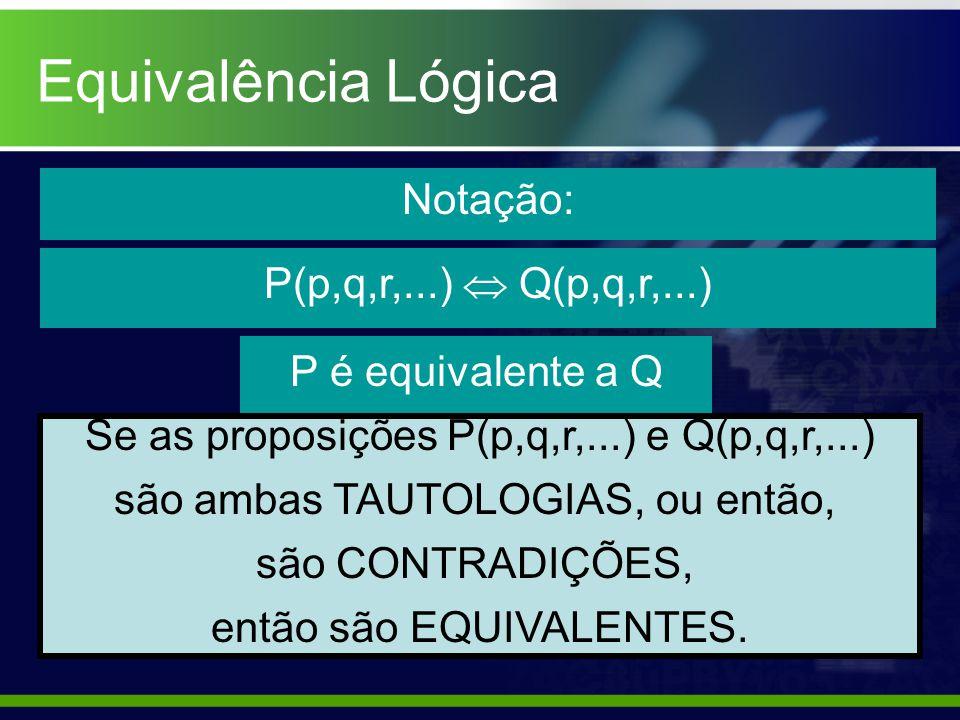 Equivalência Lógica Notação: P(p,q,r,...)  Q(p,q,r,...)