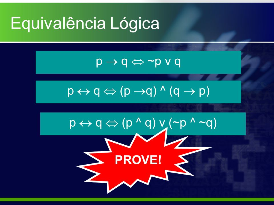 Equivalência Lógica p  q  ~p v q p  q  (p q) ^ (q  p)