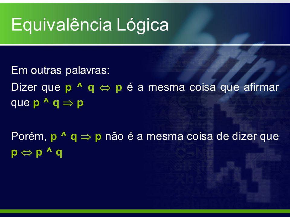 Equivalência Lógica Em outras palavras: