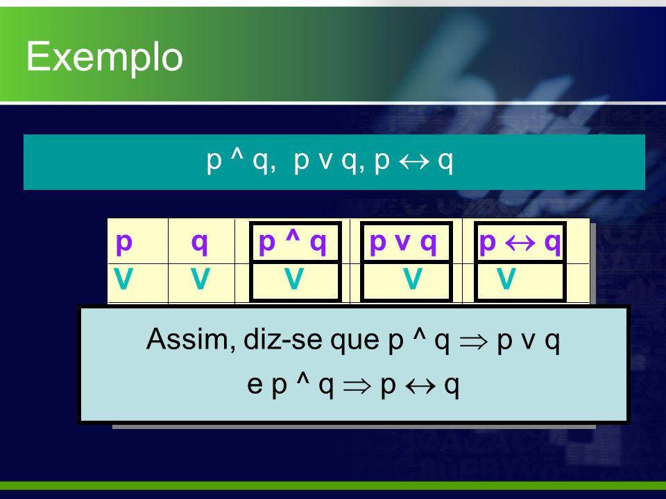 Assim, diz-se que p ^ q  p v q