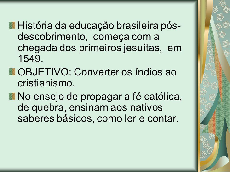 História da educação brasileira pós-descobrimento, começa com a chegada dos primeiros jesuítas, em 1549.