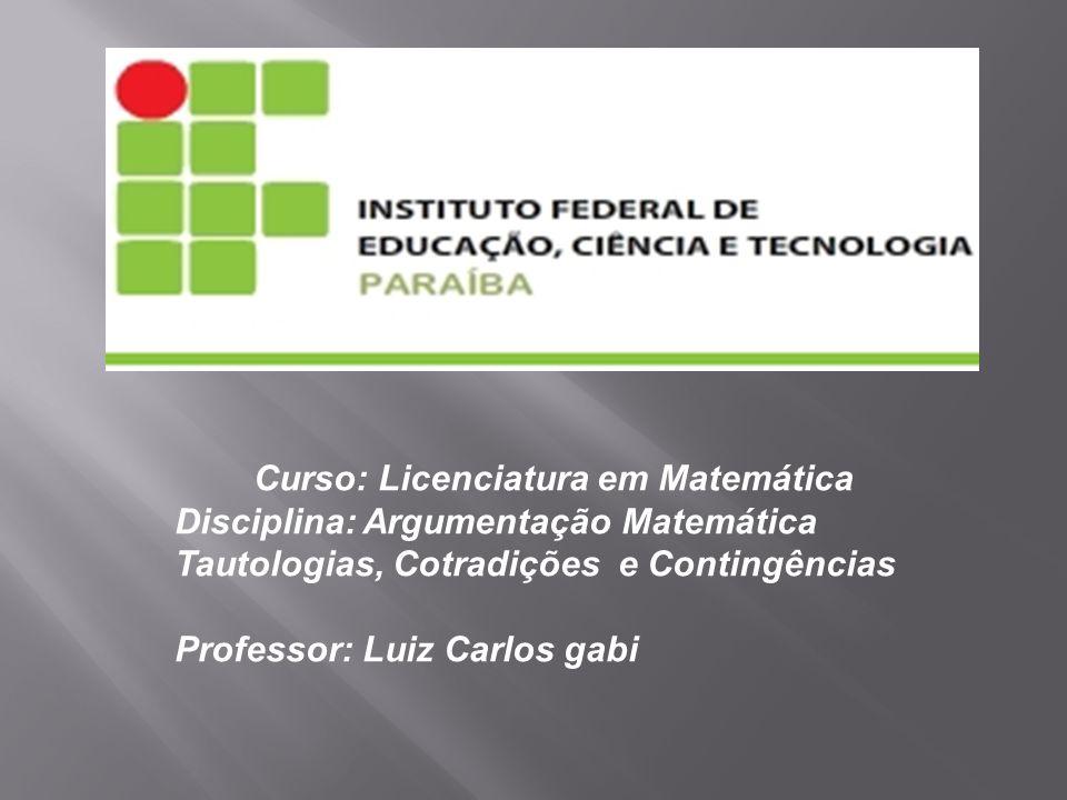 Curso: Licenciatura em Matemática