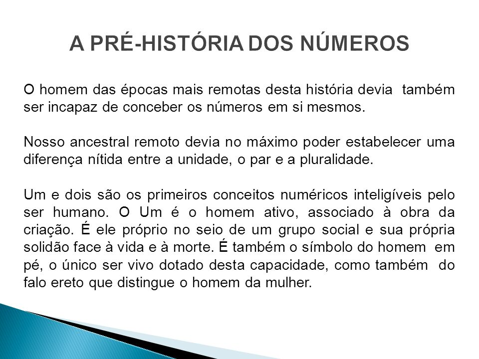 A PRÉ-HISTÓRIA DOS NÚMEROS