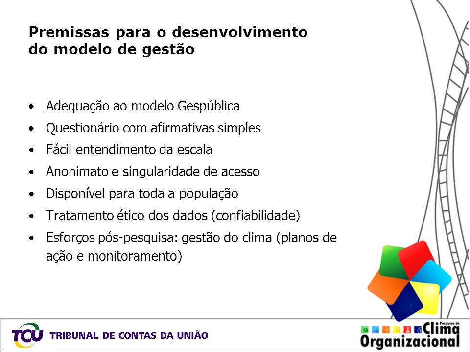 Premissas para o desenvolvimento do modelo de gestão