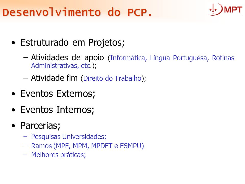 Desenvolvimento do PCP.