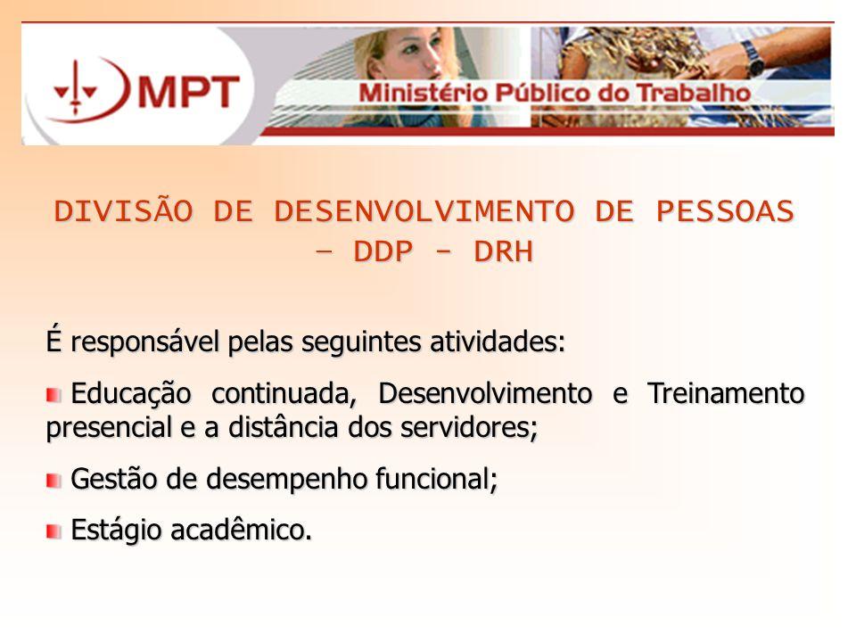 DIVISÃO DE DESENVOLVIMENTO DE PESSOAS – DDP - DRH