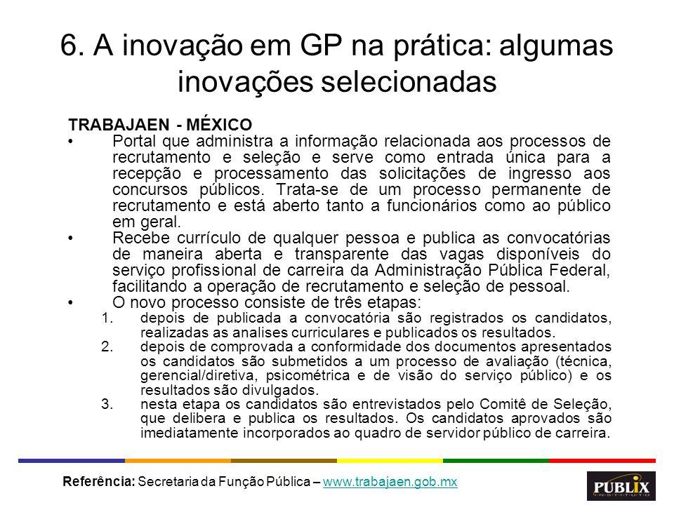 6. A inovação em GP na prática: algumas inovações selecionadas