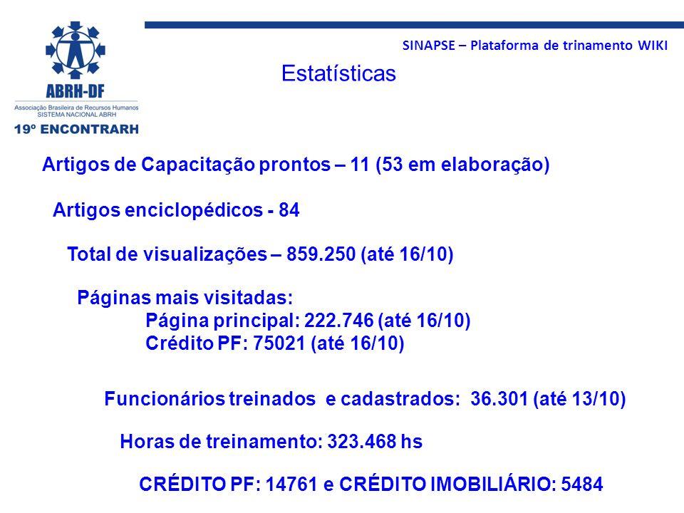 Estatísticas Artigos de Capacitação prontos – 11 (53 em elaboração)