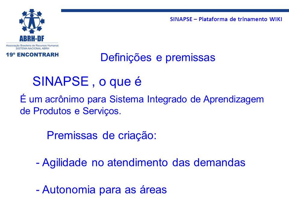 SINAPSE , o que é Definições e premissas Premissas de criação: