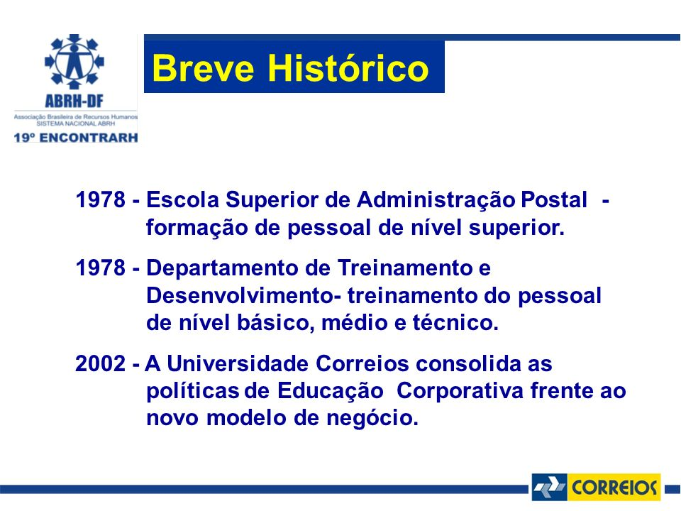 Breve Histórico 1978 - Escola Superior de Administração Postal - formação de pessoal de nível superior.