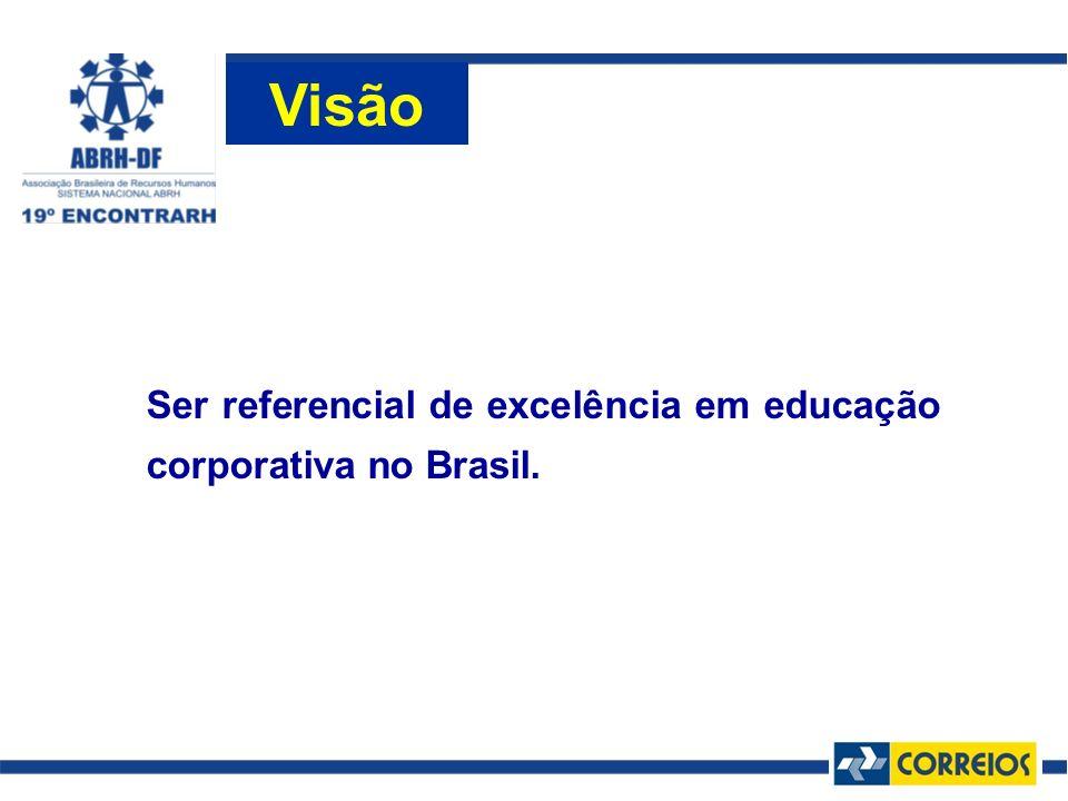 Visão Ser referencial de excelência em educação corporativa no Brasil.
