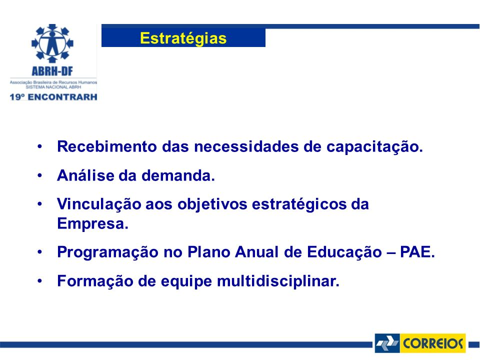 Estratégias Recebimento das necessidades de capacitação. Análise da demanda. Vinculação aos objetivos estratégicos da Empresa.