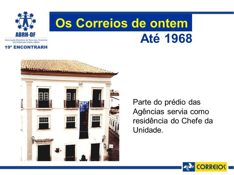 Os Correios de ontem Até 1968 Parte do prédio das Agências servia como