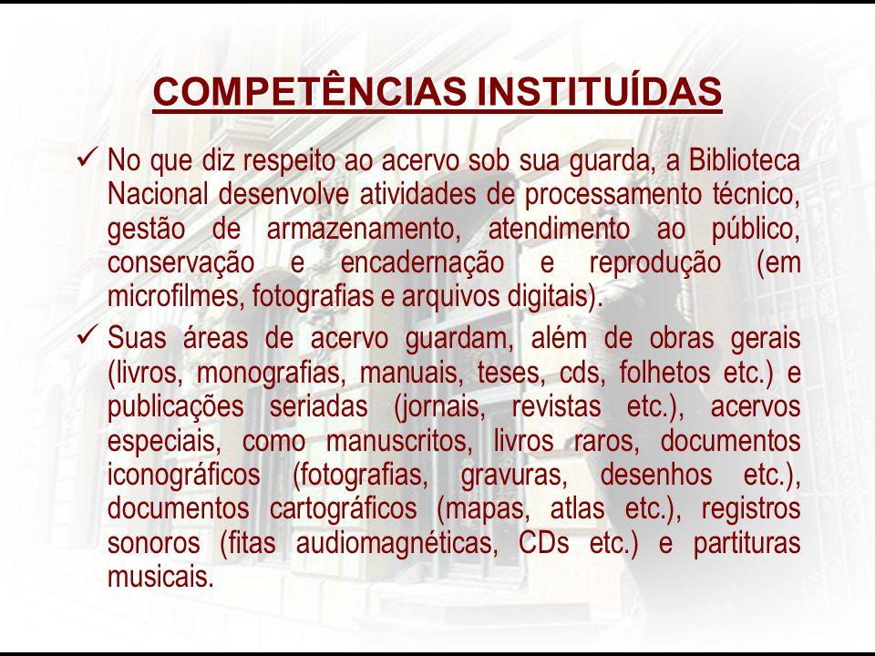 COMPETÊNCIAS INSTITUÍDAS