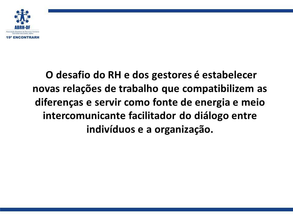O desafio do RH e dos gestores é estabelecer novas relações de trabalho que compatibilizem as diferenças e servir como fonte de energia e meio intercomunicante facilitador do diálogo entre indivíduos e a organização.