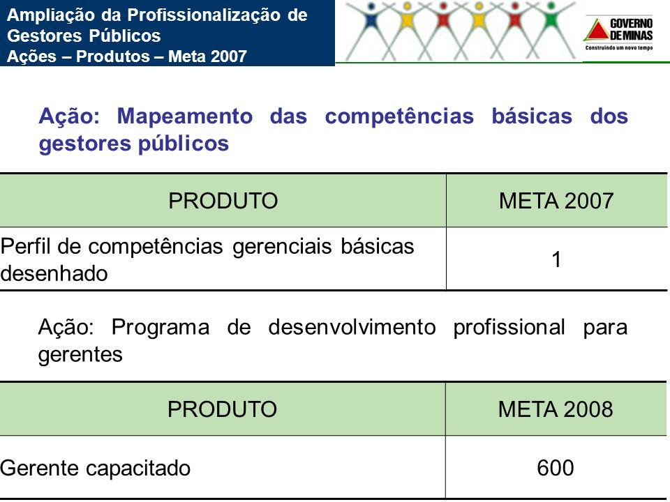 Ação: Mapeamento das competências básicas dos gestores públicos