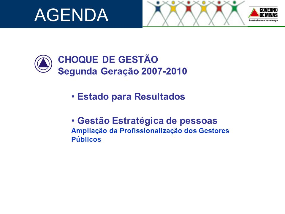AGENDA CHOQUE DE GESTÃO Segunda Geração 2007-2010