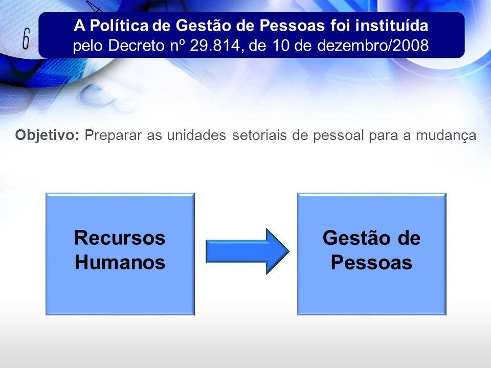 A Política de Gestão de Pessoas foi instituída