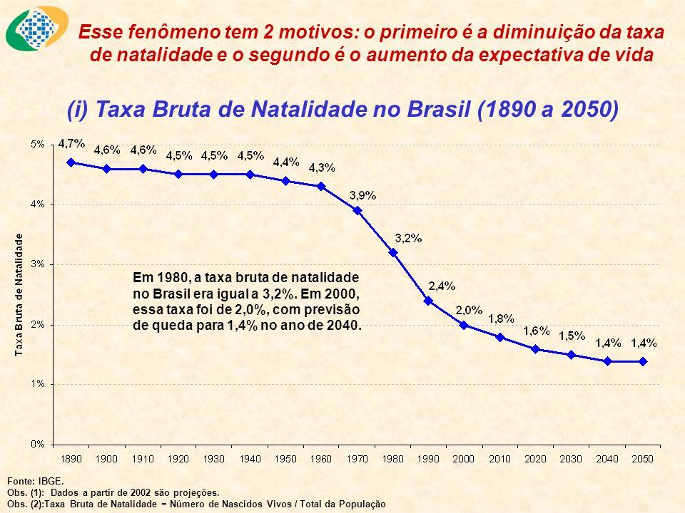 (i) Taxa Bruta de Natalidade no Brasil (1890 a 2050)