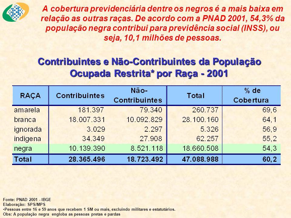 A cobertura previdenciária dentre os negros é a mais baixa em relação as outras raças. De acordo com a PNAD 2001, 54,3% da população negra contribui para previdência social (INSS), ou seja, 10,1 milhões de pessoas.