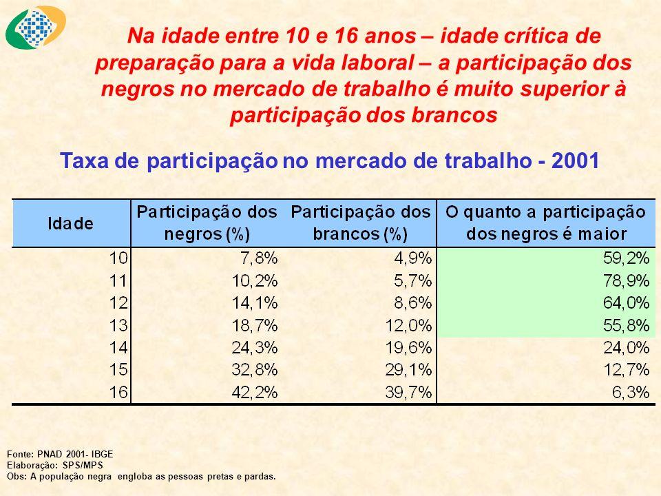 Taxa de participação no mercado de trabalho - 2001
