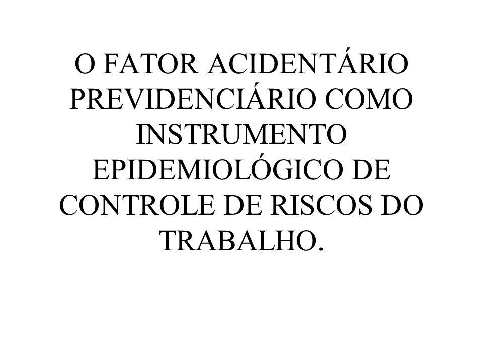 O FATOR ACIDENTÁRIO PREVIDENCIÁRIO COMO INSTRUMENTO EPIDEMIOLÓGICO DE CONTROLE DE RISCOS DO TRABALHO.
