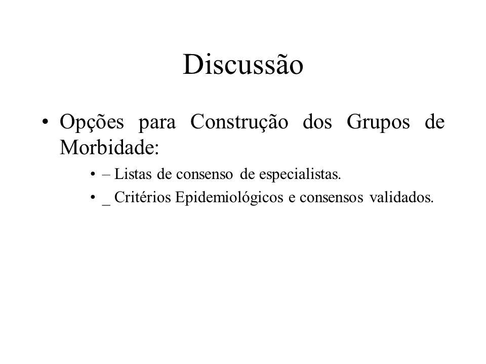 Discussão Opções para Construção dos Grupos de Morbidade: