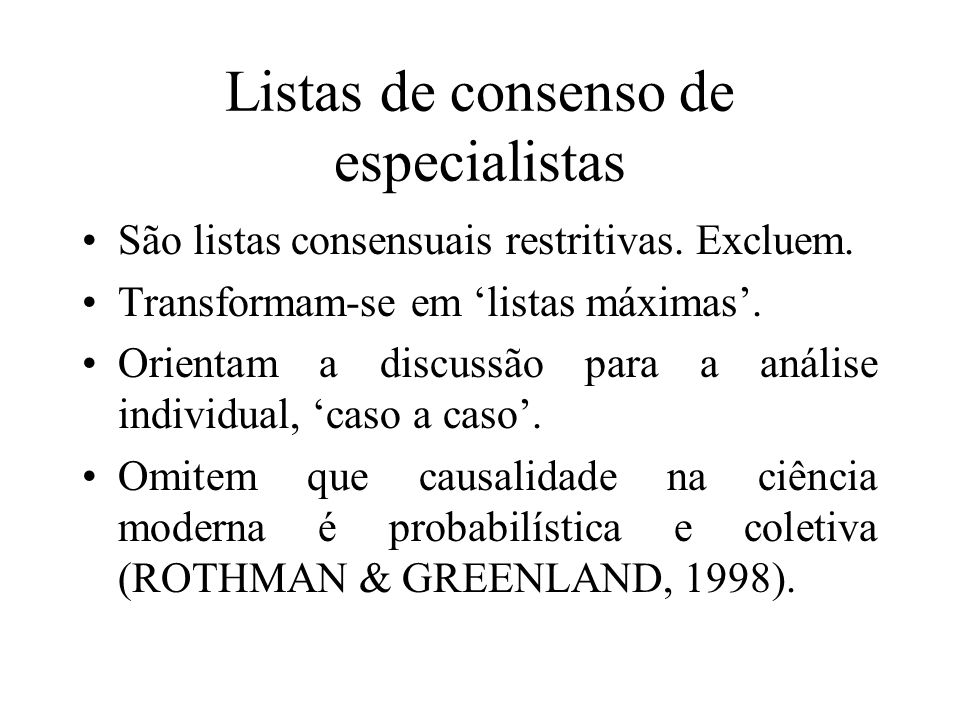 Listas de consenso de especialistas