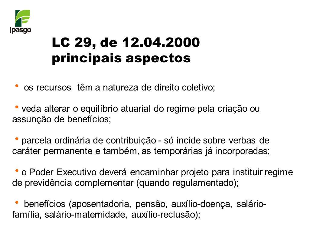 LC 29, de 12.04.2000 principais aspectos