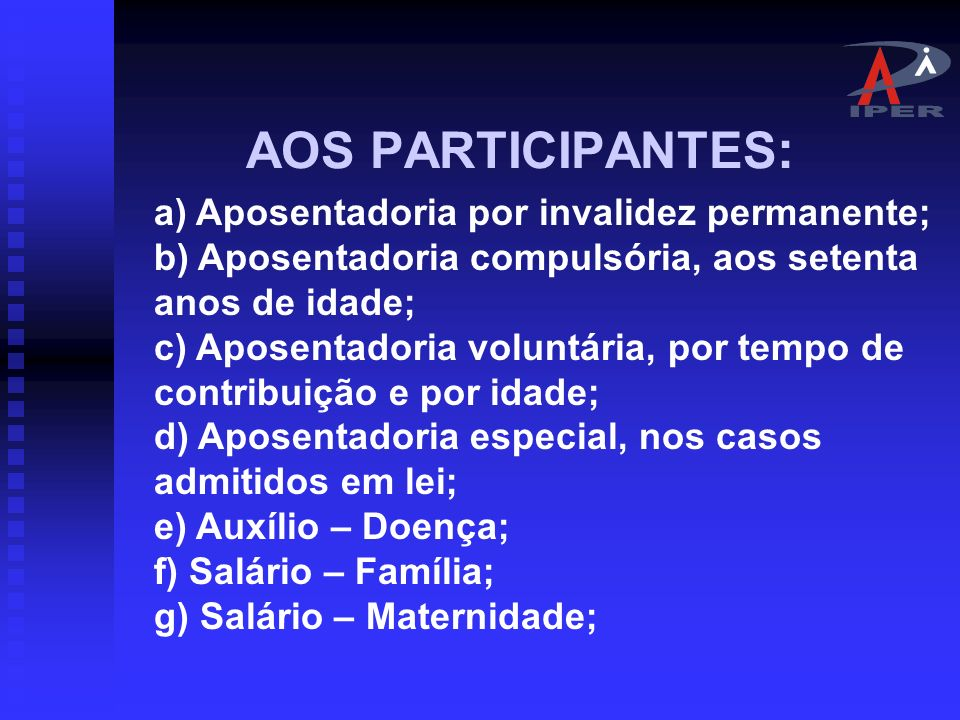 AOS PARTICIPANTES:
