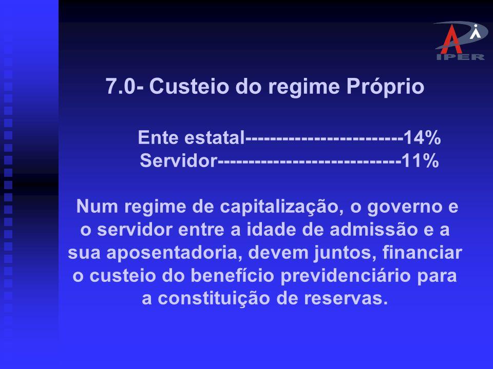 7. 0- Custeio do regime Próprio