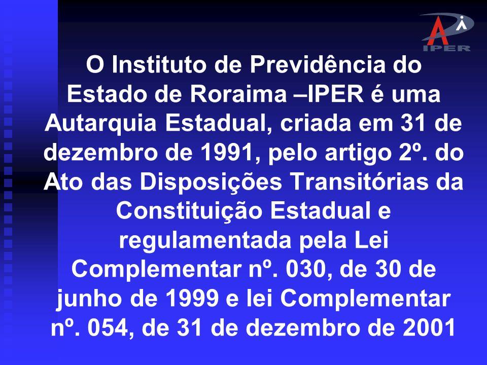O Instituto de Previdência do Estado de Roraima –IPER é uma Autarquia Estadual, criada em 31 de dezembro de 1991, pelo artigo 2º.