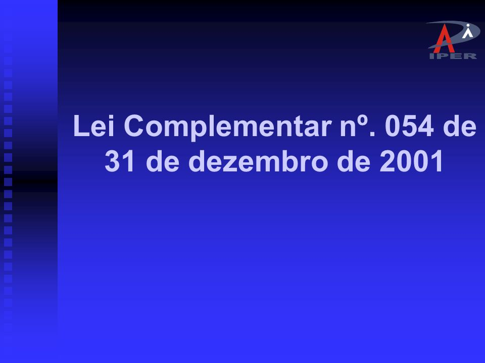 Lei Complementar nº. 054 de 31 de dezembro de 2001