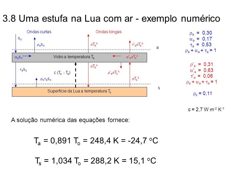 3.8 Uma estufa na Lua com ar - exemplo numérico
